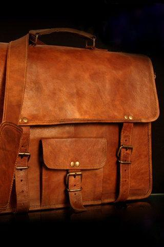 Handmade Goat Leather 15' Padded Laptop Bag Satchel Messenger cross body bag