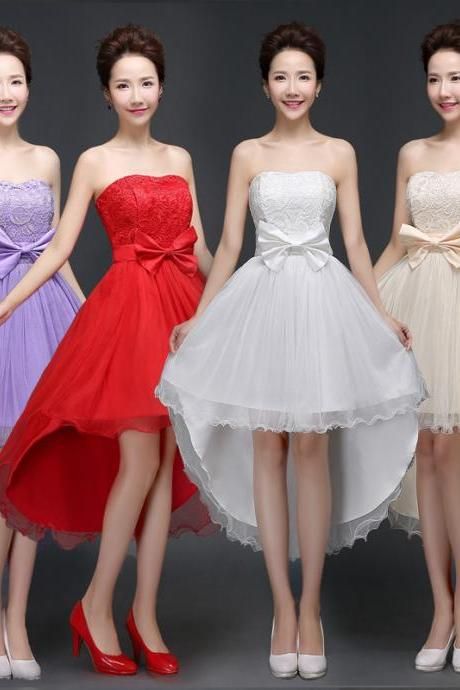 New Nice Strapless Bridesmaid Wedding Dress 4 Colors