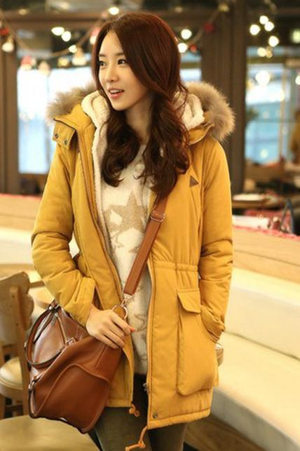 Casual Hooded Collar Drawstring Waist Yellow Coat