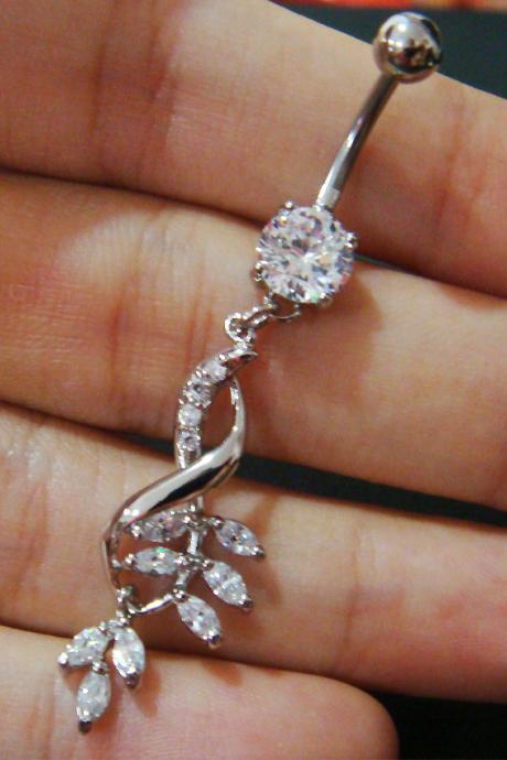 Infinity Infinite CZ Cubic Zirconia Belly Button Navel Rings Bar Body Piercing