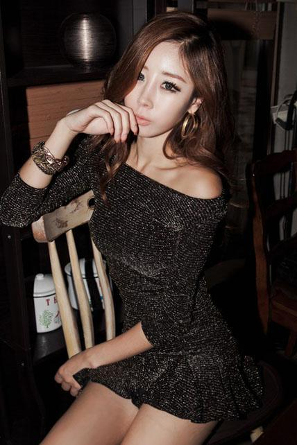 Starry Off Shoulder Long Sleeve Skater Dress