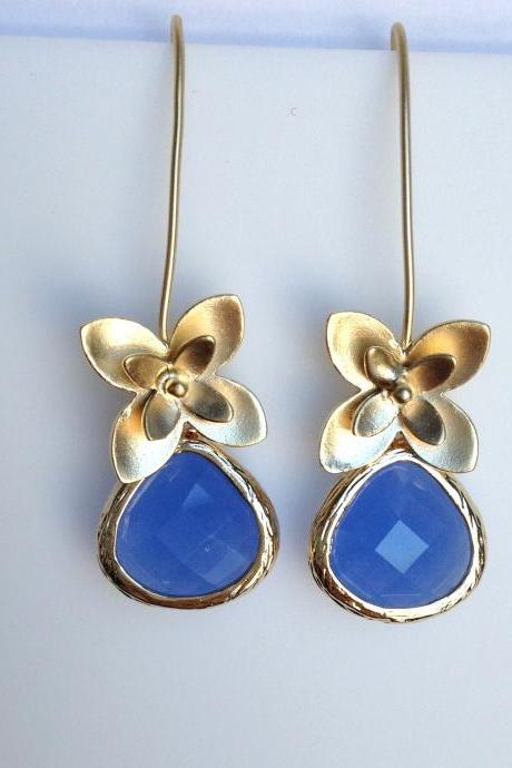 Gold flower and royal blue teardrop Glass Earrings, Drop, Dangle, Crystal Earrings, Bridesmaid Gifts, Wedding Jewelry, JEW000119