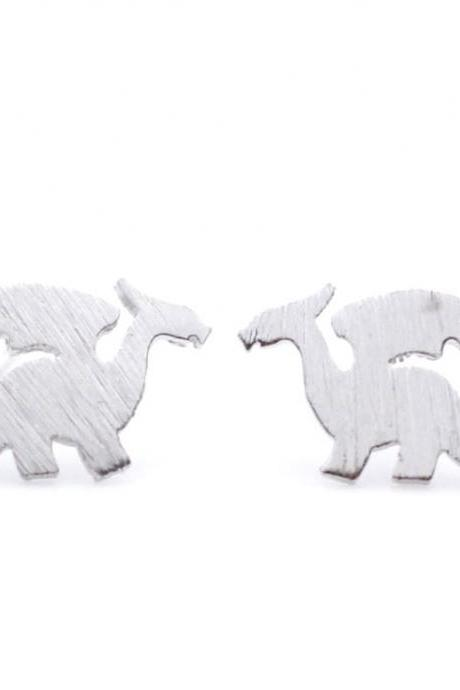 Dragon Stud Earrings in Silver