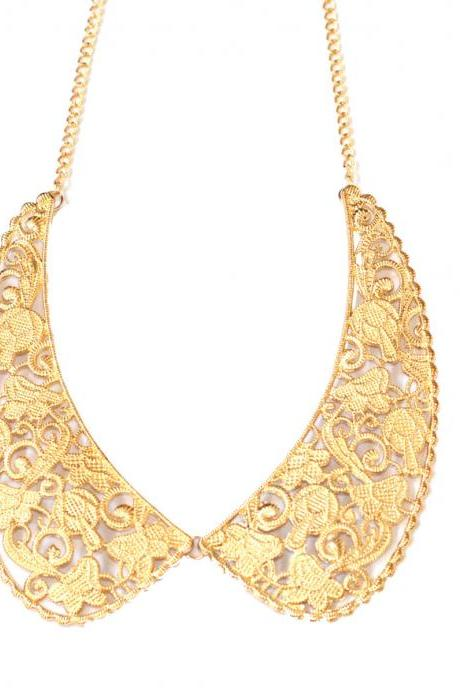 Gold statement necklace, golden bib necklace, gold detachable collar necklace