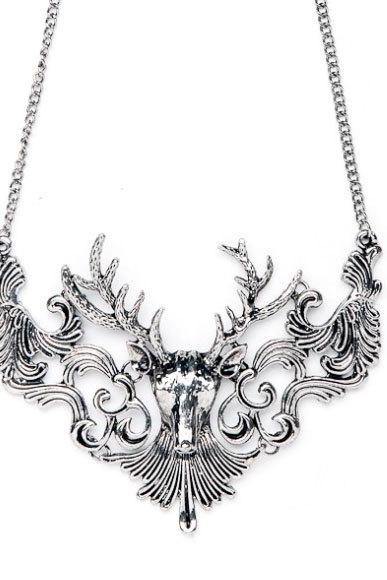 Silver reindeer statement necklace