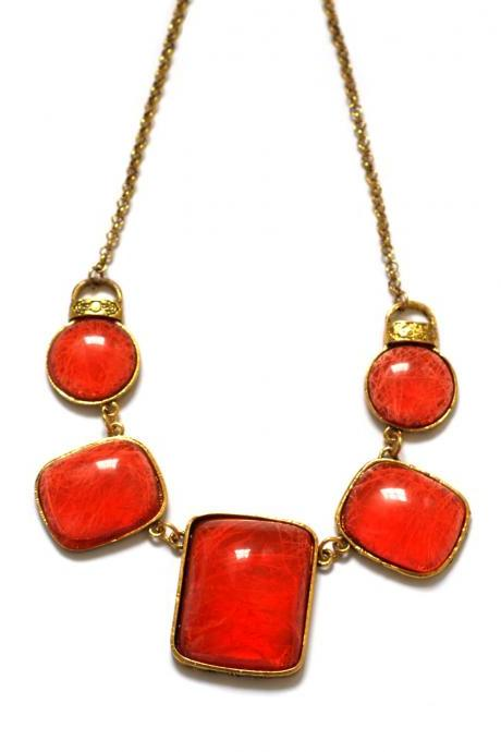Red statement necklace, emerald bib necklace, prom collar necklace, chunky necklace