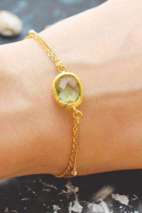 C-081 Peridot bracelet, Gold framed bracelet, Layered bracelet, Simple bracelet, Ball chain, Gold plated/Everyday jewelry/