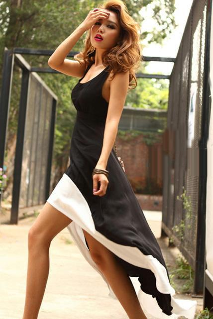 Modern Open Back High-Low Hem Black & White Patchwork Cotton Tank Dress