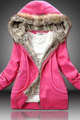 Winter Woman Hooded Collar Thickened Sweatshirt Coat - Rose