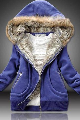 Winter Woman Hooded Collar Thickened Sweatshirt Coat - Blue