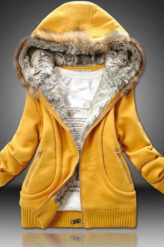 Winter Woman Hooded Collar Thickened Sweatshirt Coat - Yellow