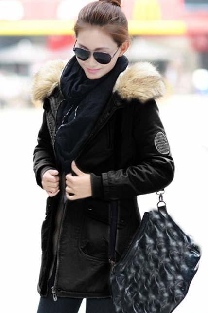 High Quality Fur Hat Zipper Closure Coat - Black