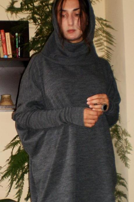Knitted Over-sized Long Sleeve Wool Cotton Tunic