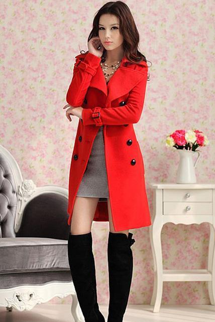 High Quality Long Style Double Breasted Coat with Belt - Red