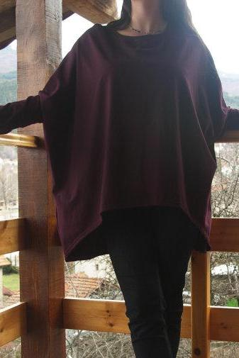 Assymetric Over-Sized Long Sleeve Jersey Tunic