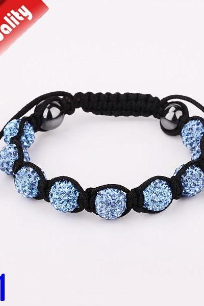 Fashion Bracelets 10mm Crystal Ball Shambala Jewelry New Arrivel Mix Colors