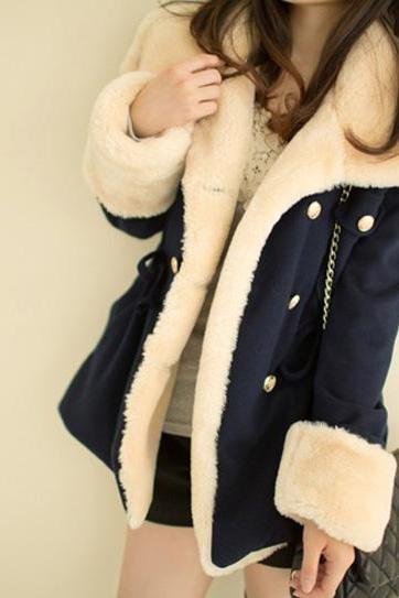 Double Breasted Fleece Women Coat