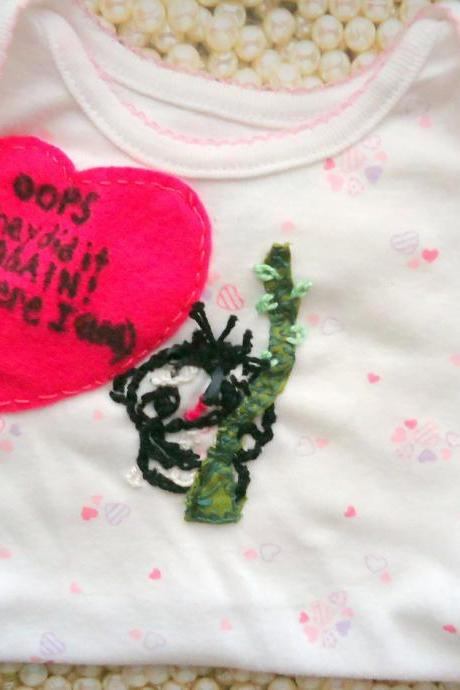 SALE Baby Onsie Handmade Embroidered Koala With Funny Saying