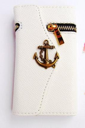 Samsung Galaxy Note 2 wallet, Anchor phone case, Samsung N7100 Galaxy Note 2 leather, Nautical phone case, zipper wallet Samsung Note 2 case cover