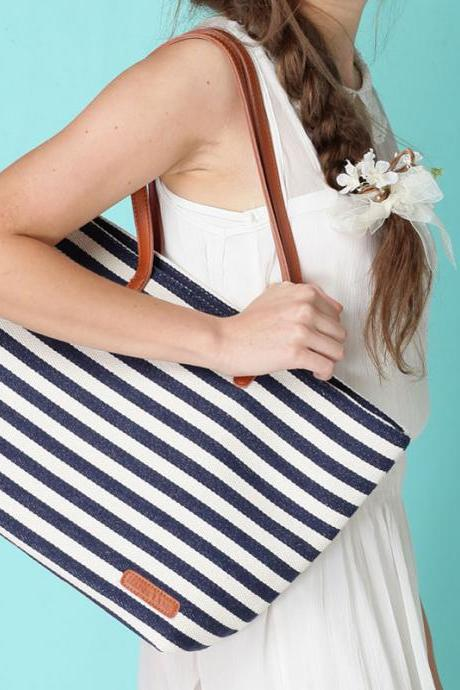 Unique Leisure Navy Strip Printed Nice Handbag