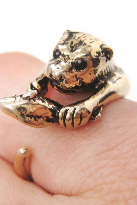 Realistic Otter With Fish Animal Wrap Ring in Shiny Gold | Sizes 4 to 9 US Available