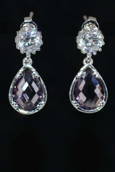 Wedding Earrings, Bridesmaid Earrings, Bridal Jewelry - Round Cubic Zirconia Earring with Amethyst Fancy Glass (Small) (E626)