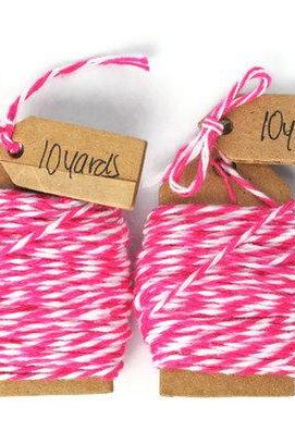 Bakers twine . pink sorbet wrapping cord . string . soft cotton . small . girly . 20 yards . twine . embellishment . spring