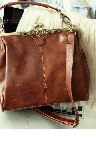 women vintage bag messenger bag hand bag shoulder bag PU leather bag clip bag