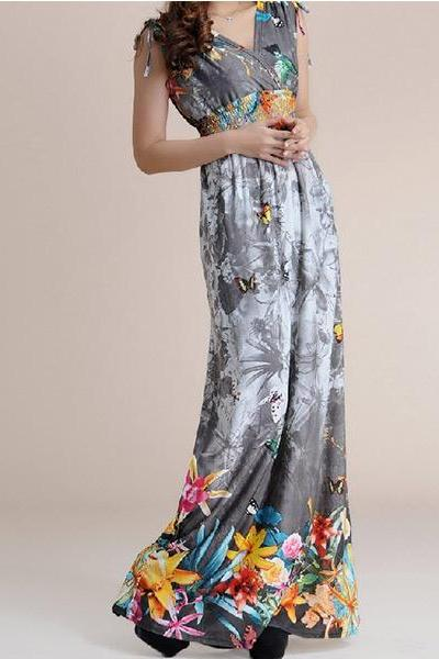 woman dress,summer dress,bohemian dress,ice silk dress,long dress,maxi dress,sundress,bridesmaid dress,print dress,loose dress,plus size,beach dress(205)