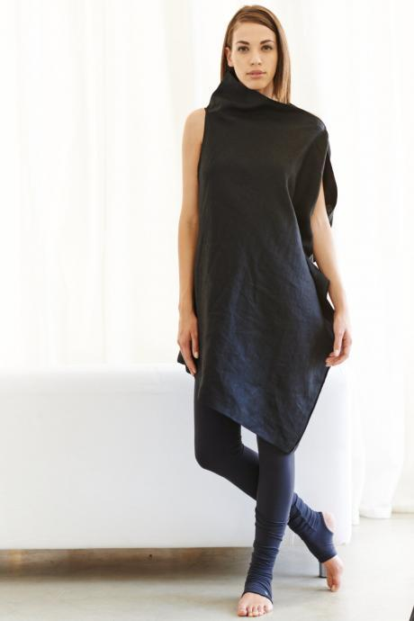 Linen Black Dress / Asymmetrical Black Tunic / Oversized Black Top / Loose Casual Black Dress by Arya Sense