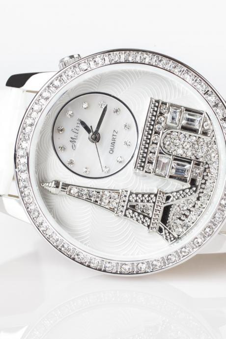 Stunning Ladies Diamond Accented Melissa Eiffel Tower Leather Watch (White)