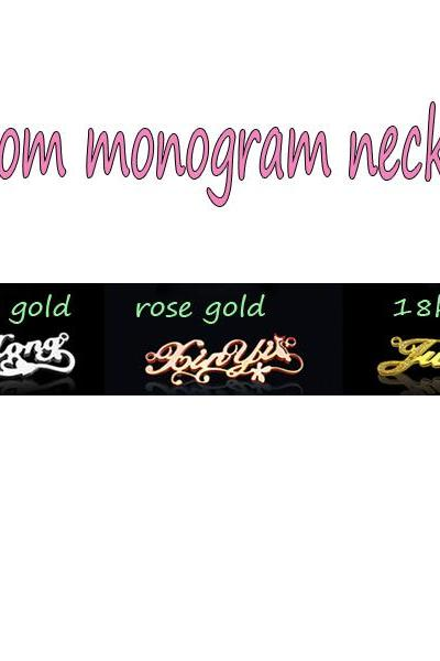 100% Handmade Monogram Necklace Custom Personalized DIY 925 Sterling Silver+Gold/White Gold/Rose Gold Plated