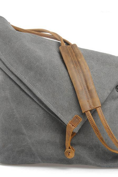 Dark Grey Vintage Retro Single shoulder bag Messenger Bag Handbag Tote Bag Genuine Canvas Bag -vb116
