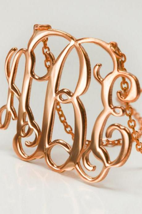 1.25inch Monogram Necklace Rose Gold Plated- 925 Sterling Silver Handmade