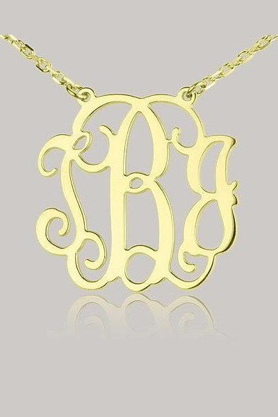 1.25inch Monogram Necklace 18k Gold Plated- 925 Sterling Silver Handmade