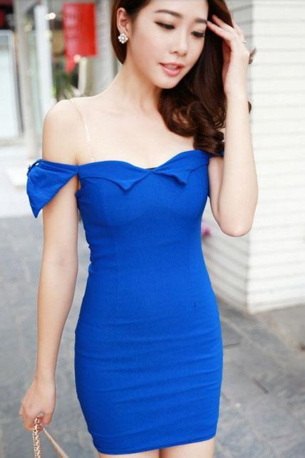 Pure Solid Boat Neck Mini Dress with Bow - Blue
