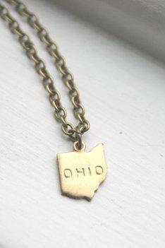 Small Gold Brass Ohio State Necklace, Miniature State Necklace, Map Land Geography Necklace