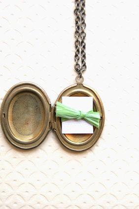 Personalized Hand Written Mustard Locket Necklace, Message Locket, Bridesmaid Locket Necklaces