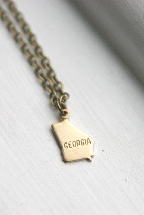 Georgia State Charm Necklace, Map Land Geography Necklace, Gold State Necklace