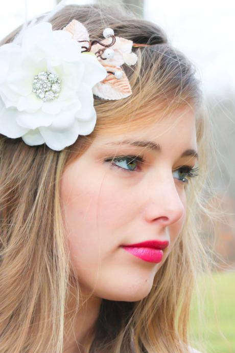bridal flower hair crown, woodland wedding