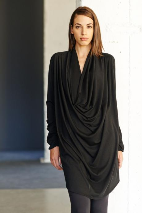 Black Drape Tunic / Reversible Black Dress / Long Sleeves Tunic Top / Loose Casual Black Blouse by Arya Sense