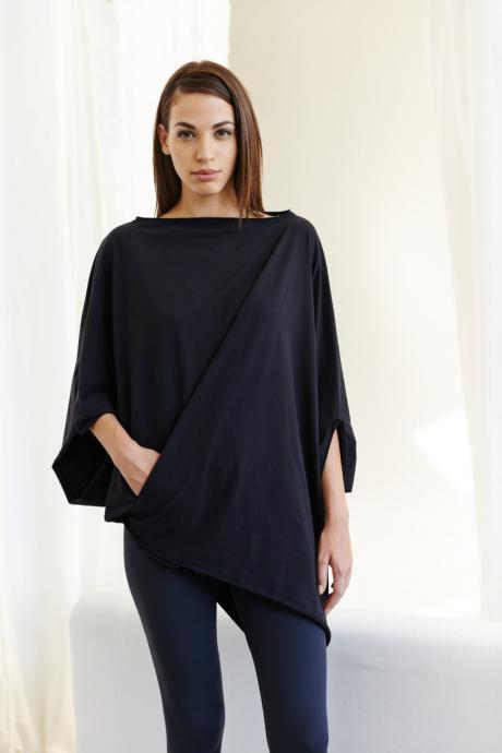 Twisted Black Top/ Oversized Asymmetrical Top/ Loose Black Top/ Casual Cotton Blouse by Arya Sense
