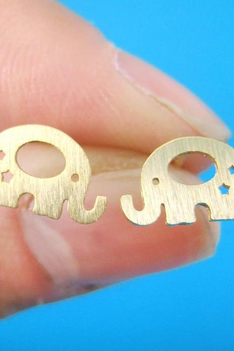 Elephant Baby Silhouette Shaped Stud Earrings in Gold With Star Cut Outs
