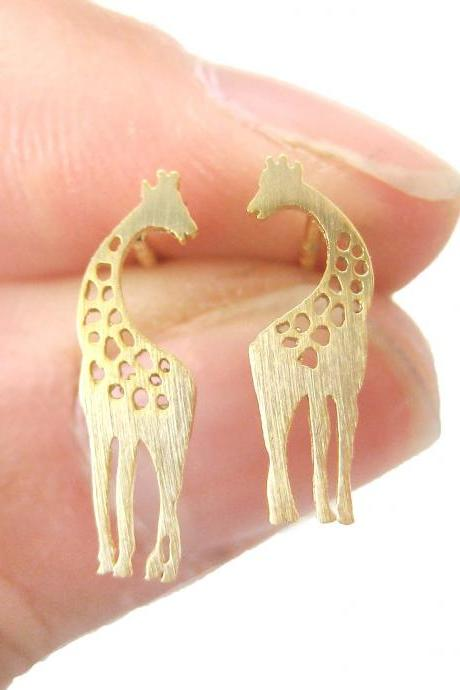 Giraffe Mother and Baby Silhouette Shaped Stud Earrings in Gold