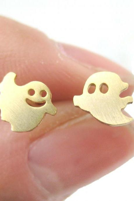Cute Funny Ghosts Silhouette Shaped Stud Earrings in Gold