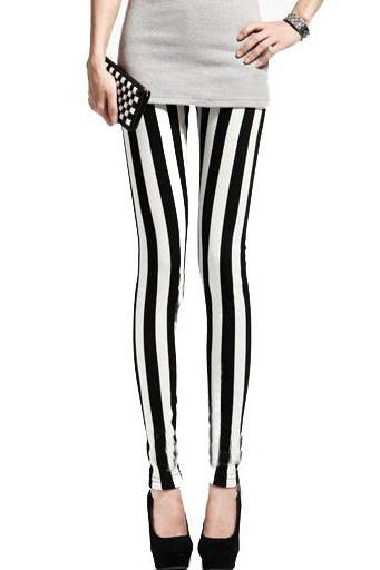 *free ship* Stripes Print Skinny Leggings