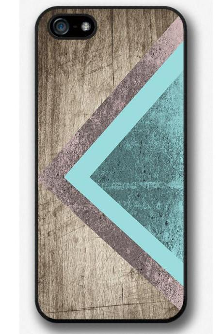 iPhone 4 4S 5 5S 5C case, iPhone 4 4S 5 5S 5C cover, Mint Triangle Geometric Wood