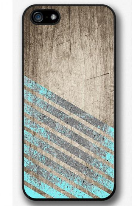 iPhone 4 4S 5 5S 5C case, iPhone 4 4S 5 5S 5C cover, Mint Stripes Geometric Wood