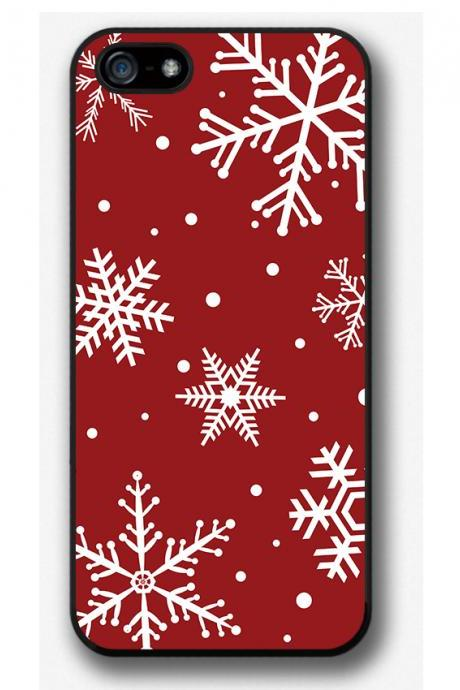 iPhone 4 4S 5 5S 5C case, iPhone 4 4S 5 5S 5C cover, Snowflakes on red