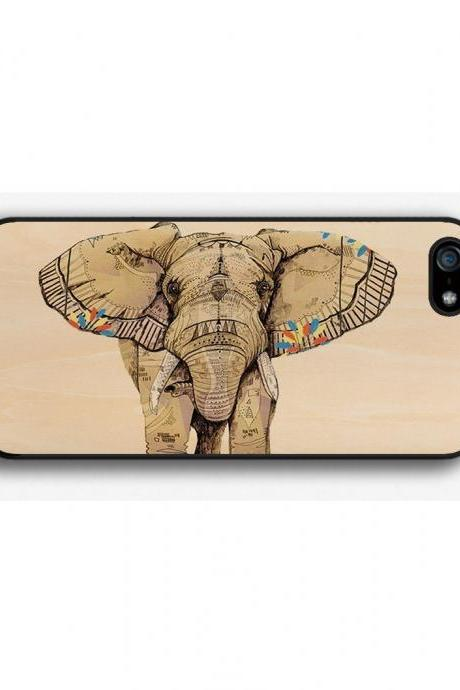 iPhone 4 4S 5 5S 5C case, iPhone 4 4S 5 5S 5C cover, Elephant On Wood